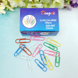 Wholesale Round Paper Clips - 70pcs pcs 29x5mm hot sell creative cute kawaii round paper clips bookmark memo clip round clips Office stationery supplies