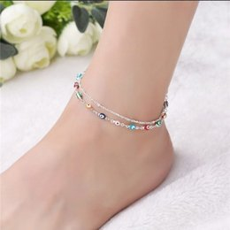 Wholesale Wholesale Anklets - Devil Eye Ankle Chain S925 Sterling Silver Multi Layer Handmade Ankle Bracelets Barefoot Sandals Womens Anklet