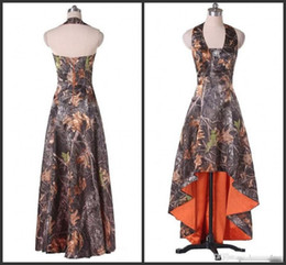 Wholesale low price girl dresses - Halter Neck Prom Dresses Cheap Price High Low Party Wear Camo Unique Design Formal Sweet Girls Dress For 15 Wonderful Evening Gowns