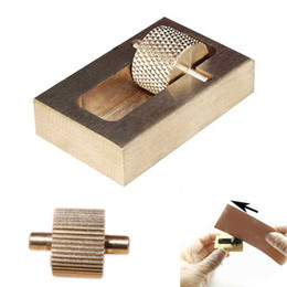 Wholesale Tool Box Set Sewing - Professional Leather Craft Making Tool Oil Painting Box + 2 Rollers Brass DIY Hand Making Sewing Tools Sets
