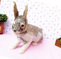 Wholesale Large Rabbit Plush - simulation gray rabbit model large 44x15x35cm,plastic&fur rabbit handicraft toy ,home decoration,Xmas gift