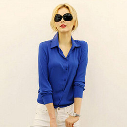 Wholesale European Women Blouses - 2017 Women Chiffon Shirt Spring Summer Womens new European and American Long-sleeve Chiffon Shirt Blouse Large Size