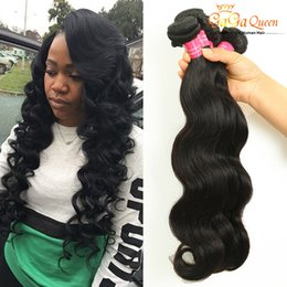 Wholesale Coloured Hairs - Amazing Weaves Peruvian Body Wave Hair Natural Colour Wet And Wavy Hair Extensions Virgin Peruvian Hair Bundles 4Pcs Lot Dyeable Weft