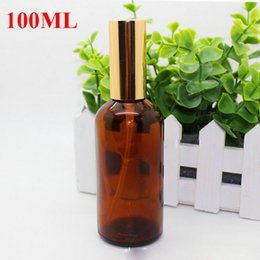 Wholesale Cap Refills - 30ml 50ml 100ml Glass Spray Bottles Refill Scent Bottes Amber Spray Bottles Empty Perfume Bottles with Gold and Black Cap