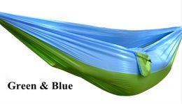 Wholesale Hammock Swing Nylon - Wholesale- 5 Colors Hammock Double Portable Parachute Nylon Fabric Hammock for Travel Camping Outdoor Large Garden Hang Swing 270x140CM