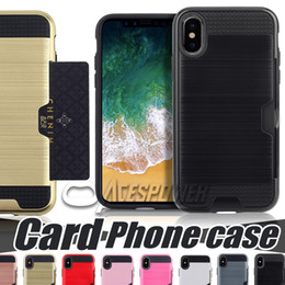 Wholesale Mobile Armor - For Iphone X 10 8 7 Plus Samsung Galaxy Note 8 Wire drawing card PC+TPU Mobile Phone Case Cover Card Armor Phone Case
