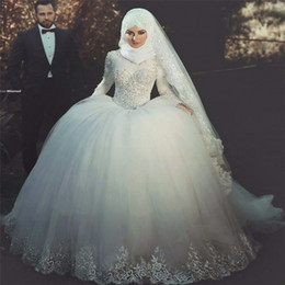 Prinzessin islamische hochzeitskleider online-Langarm Prinzessin Ballkleid Brautkleider islamischen muslimischen Hochzeitskleid Spitze appliziert Brautkleider mit Tuch