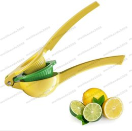 Wholesale Lemon Squeezer Free Shipping - Quality 2 in 1 double layer Metal Lemon Lime Squeezer Manual Citrus Press Juicer KitchenTools free shipping MYY