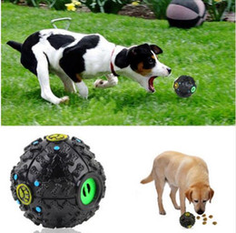 Wholesale Hot Food Dispenser - Hot sound leak food ball dog toy pet dispenser creak sound hip hop sound training toy chewing ball TO116
