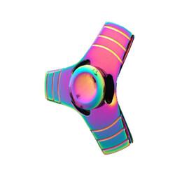 Wholesale Desk Novelty Gifts - 2017 Luxury Rainbow 3 Leaves Metal Fidget Finger Spinner Toys Hand Fingertip Spinner Gyro EDC Handspinner Desk Hand Novelty Gag Toys Gifts