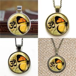 Wholesale Butterfly Jewelry Earrings - 10pcs Butterfly Om Zen Jewelry Yoga Charm Pendant Necklace keyring bookmark cufflink earring bracelet