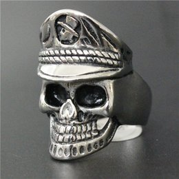 Wholesale Pirate Price - Wholesale Price Newest Biker 316L Stainless Steel Silver Skull Ring Band Part Golden Punk Biker Pirate Ring