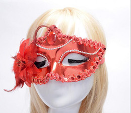 Wholesale Party Eye Mask Red Black - Hallowmas Venetian eye mask masquerade masks with flower feather Easter mask dance party holiday mask G602