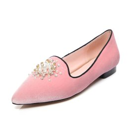 Wholesale Ballet Flats Size 34 - 2017 Woman flats Genuine leather pointed-toe no heels shoe Size 34-39 Red bottom shoes for women Sexy girls flat wedding shoes HPG-3301-1