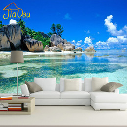 2021 обои настенные обои Wholesale- Custom 3D Mural Wallpaper Non-woven Bedroom Livig Room TV Sofa Backdrop Wall paper Ocean Sea Beach 3D Photo Wallpaper Home Decor