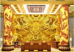 carta da parati rosa nera del fiore Sconti Custom any size 3D gold dragon stereo wall mural 3d wallpaper 3d wall papers for tv backdrop