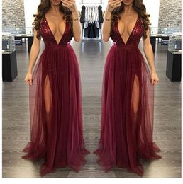 Wholesale Modern Dancing Pictures - Burgundy Squins Tulle Deep V Neck Floor Length Criss Cross Straps Sexy Open Back Home coming Dance Evening Dresses Prom Dresses