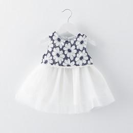 Wholesale Knee Length Romantic Floral - 6M-3Y Girls 2017 summer new children's clothing Small fresh sleeveless romantic Sunflower dress Yarn skirt Free shipping