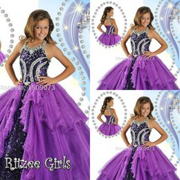 Wholesale High Glitz Dresses - Hot Sale High Rated Purple Princess Girl's Pageant Dresses 2017 Halter Neck Corset Back Beads Sequin Ball Gown Glitz Girl Dresses HY1141