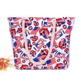 Wholesale Handbag Usa Flag - USA Flag Mouth Print Fashion Totes Bags For Girls 2017 Summer Canvas Beach Handbags Creative Casual Tote Free Shipping