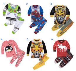 Wholesale Set Boy Spiderman - Kids Christmas Pajamas Sets Spiderman Elk Buzz Penguin Sleepwear 2-8T Long Sleeves Soft Cotton Boys Girls Pajamas Clothing Set MD089