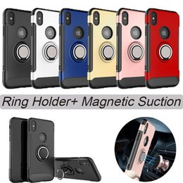 Wholesale Magnetic White - For iphone X Ring Holder Phone Case for ihpone 6plus 7 7plus Magnetic Suction Bracket For Car Kickstand Phone Case