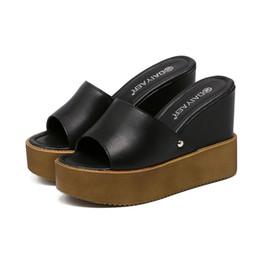 Wholesale Blue Wedding Flip Flops - D33 2017 Sexy Women Platform Shoes Wedge Sandals Woman Party Wedding Shoes Fashion Platform High Heels Sandals Woman Slip-on Slides