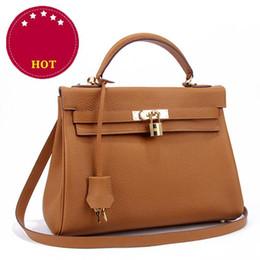 Wholesale Golden Strap Lock - Trendy Women Famous Brands Genuine Leather Handbags Tote Bags Top Layer Cowhide Designer Golden Lock Handbag with Shoulder Strap