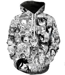 sesso dei cartoni animati Sconti 2019 New Fashion Anime Cartoon donne del sesso uomini Harauku stile divertente 3d stampato girocollo Felpe Felpe con cappuccio W101