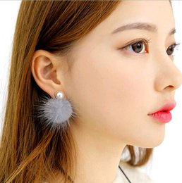 Wholesale Mother Pearl For Sale - Korea Fashion Jewelry Women Imitation Pearl Double Sided Sable Hair ball Back hanging Earrings Charms Stud for Sale Gift