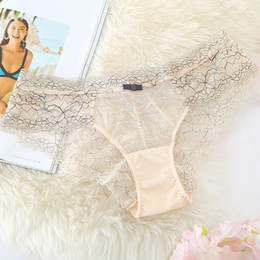 Wholesale T Shape Panties - Fashion new hollow net yarn thong pants Sexy lace t-shaped underwear Low waist breathable ladies triangle panties