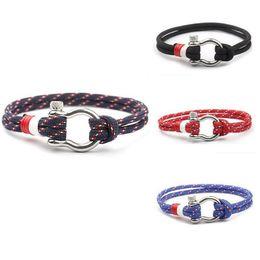 Wholesale Titanium Paracord Bracelet - Men's Stainless Steel U Shaped Buckle Paracord Rope Nautical Sailing Bracelet