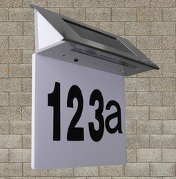 Wholesale Led House Number Lights - Wholesale- 4 LED stainless steel solar lights light-operated led billboard lamp of house number amorphous silicon