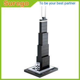 Wholesale Mini Architecture - Loz World Famous Architecture USA John Hancock Center Big John Mini 3D Model Building Blocks DIY Assembly Bricks Toys for Children