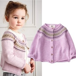 Wholesale Girls Toddler Sweater Coat - New Purple embroidery Girls Cardigan Girl Sweaters Children Crochet Cardigan coat Kids tops Girls Clothes Kids Clothing Toddler wear A728