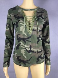 Wholesale low cut v neck shirts - Hot Camouflage Low Cut Hollow Strap T-shirt Long Sleeves Women's Clothing Tops European And American Style