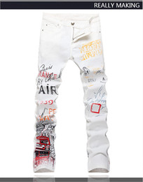 Wholesale Painted White Jeans - Top Quality Original Design Men's Words Graffiti Printed Jeans Punk Rock DS DJ Painted Slim Printing Jeans Motorcycle Jeans 2233