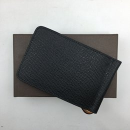 Wholesale Top Quality Mens Wallets - Classic Black Genuine Leather Metal Money Clip Top Quality Credit Card Holder Wallet 2018 New Arrivals Fashion Mens Purses Free Shipping