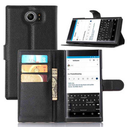 Wholesale Book Leather Case Wallet Card - Brand Holster Book Style With stand and Card Holder Litchi Leather Case For Blackberry Priv Case