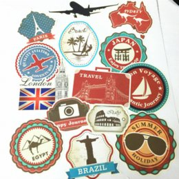 Wholesale World Travel Stickers - Waterproof Removable Car Sticker World Traveller Vintage Travel Stickers for Suitcases Trolley Luggage Laptop Guitar PVC Sticker