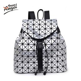 Wholesale Female Voice - Wholesale- Angel Voices Women Backpack 2017 BaoBao Backpack Female Fashion Girl Daily Backpack Geometry Package Sequins Folding Bags Sac