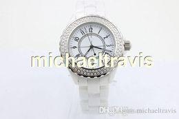 Wholesale Ceramic Chronograph Watches - NEW LUXURY 38mm big watches Top quality wrist quartz movement womens white ceramic watch diamond bezel fashion ladies watch free shipping.