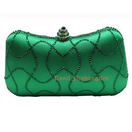 Wholesale Clutch Bags China - Wholesale-China Manufacturer Directly Wholesale Emerald Dark Green Rhinestone Crystal Clutch Evening Bags