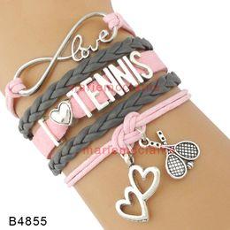 Wholesale I Love Pink Set - Custom Infinity love I love tennis Bracelet heart to heart tennis charm Bracelet pink gray leather custom Any Themes Drop shipping