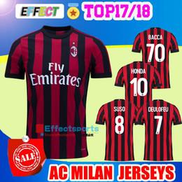 Wholesale Milan Home - 2017 AC Milan jersey 17 18 thai quality SUSO soccer jersey AC Milan home LAPADULA HONDA BONAVENTURA ABATE DEULOFEU LOCATELLI football shirts