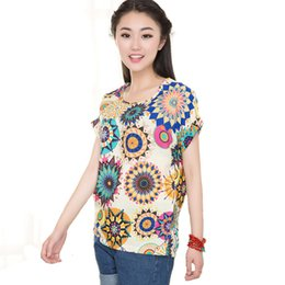 Wholesale Fitted T Shirt Pattern - blusas femininas 2016 Women Tees roupas femininas fashion T Shirts Women Loose Fit Batwing Print Pattern TOPS Chiffon T-Shirt
