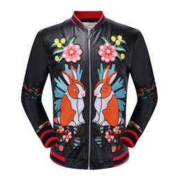 Wholesale Popular Bird - Famous brand autumn winter leather jacket rabbit flowers birds ufo and other popular elements embroidered leather mens leather jacket