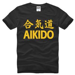 Wholesale Japan Printed T Shirt Men - New Designer Aikido Printed T Shirts Men Cotton Short Sleeve Japan WuShu Men's T-Shirt Fashion Male Sport Tee Shirts Summer Style
