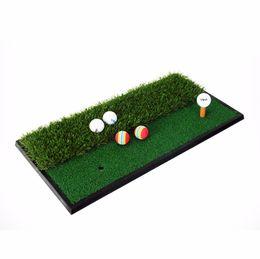 Wholesale indoor golf training - Wholesale- CRESTGOLF 33*63cm Backyard Exercise Golf Mat Training Hitting Mat Pad Green Grass Indoor Practice Mat With Rubber Tee Holder