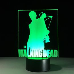 Wholesale Led Aa Battery Lamp - The Walking Dead 3D Optical Illusion Lamp Night Light 7 RGB Lights DC 5V USB Charging AA Battery Dropshipping Free Shipping